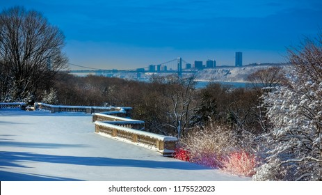 The morning after a fresh fall of snow at Wave Hill, Riverdale