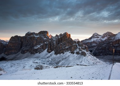 Morning Alpenglow view from Lagazuoi mountain refuge, Dolomites, Italy