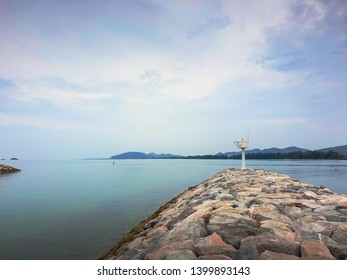 Morning atmosphere on the breakwater in Hua Hin, Thailand