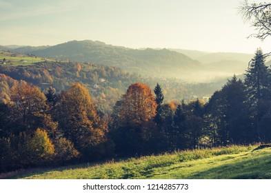 Morning autumn mountains panorama, Beskidy mountains, Poland
