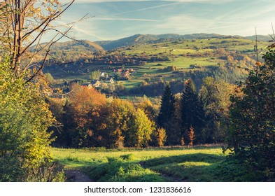 Morning autumn mountains panorama, Beskidy mountains, Poland