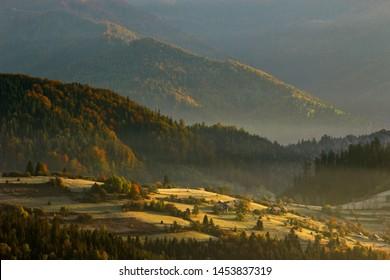 morning autumn rural view, ukrainian village in Carpathian mountains, forest on the slope of mountain, season multicolor trees, splendid nature dawn background, Europe, Ukraine