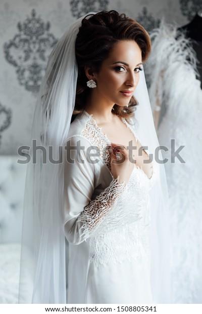Morning Beautiful Bride Near Wedding Dress Stock Photo Edit Now