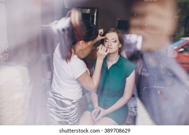 morning in the beauty salon where they make excellent makeup bride