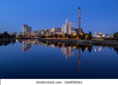 A Morning Blue Hour Shot of the Rochester, Minnesota Cityscape Reflecting in a Calm Silver Lake