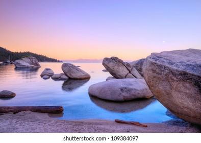 Morning Bonsai rock at Lake Tahoe