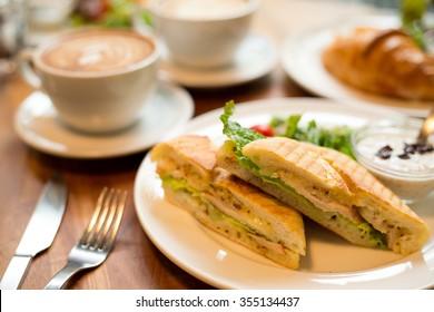 Morning breakfast in coffee shop