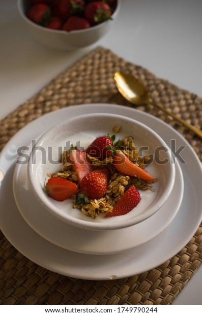 Morning breakfast granola with strawberries
