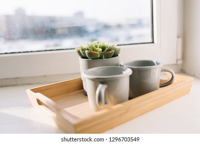 morning Breakfast for lovers: a wooden tray with cups of coffee and a pot of fresh succulent on the windowsill on a spring day. concept: Valentine's day