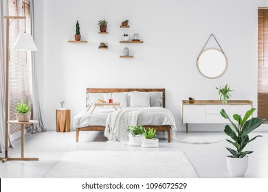 Morning in a bright and sunny modern white bedroom interior with wooden furniture. Cushions, blanket and food tray on the bed, nightstand beside and hanging round mirror on the wall. Real photo