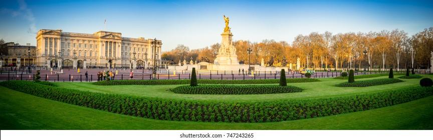 Morning Buckingham Palace panorama in London, United Kingdom