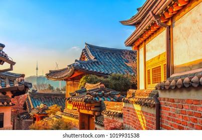 morning at bukchon hanok village seoul korea
