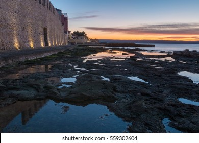 Morning by the sea by the city wall in Novigrad, Croatia