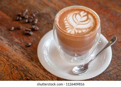 Morning cappuccino art coffee
