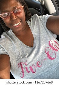 Morning Car Selfie in Pink Clear Sunglases wearing my Five-Oh Tee