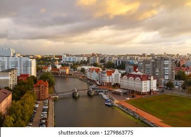 Morning. Central part of the city of Kaliningrad, Embankment of the Fish Village, Jubilee Bridge. Kaliningrad, Russia