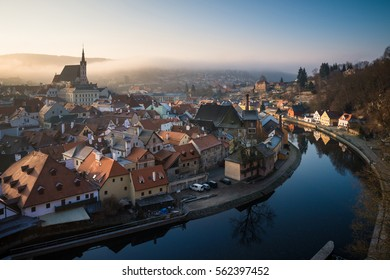 Morning at Cesky Krumlov city and Vltava river, Czech republic