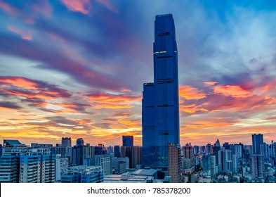 Morning in Changsha city. Urban landscape. Hihg-rise buildings.