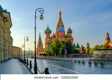 Morning city landscape with view at Cathedral of Vasily the Blessed (Saint Basil's Cathedral) on Red square. Moscow. Russia