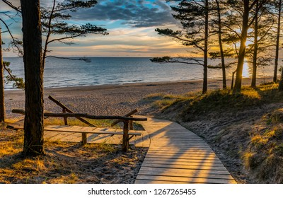 Morning at coastal zone of Jurmala that is located at Riga gulf of the Baltic Sea and is a famous tourist resort and recreational place in the Baltic region of EC