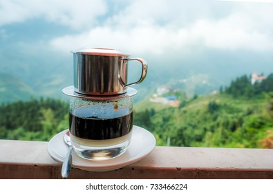 Morning coffe cup with mountain view in Sapa, Vietnam