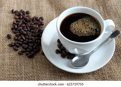 Morning coffee, Black coffee and roasted coffee beans