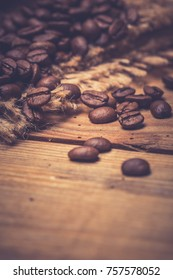 Morning Coffee, Black Coffee And Roasted Coffee Beans On wooden