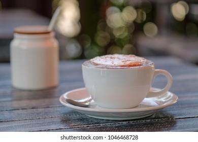 Morning cappuccino? coffee in garden