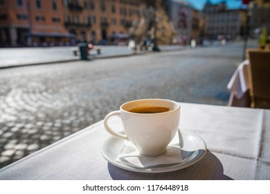 Morning coffee on the background of Piazza Navona in Rome,Italy
