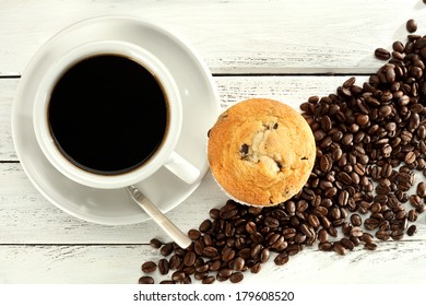 morning coffee and one muffin