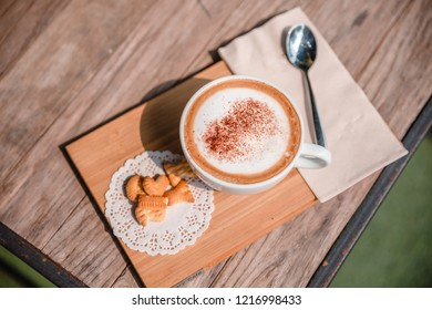 Morning coffee is placed on the table.