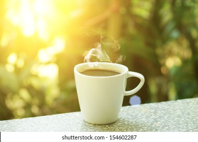 morning coffee with sunlight.