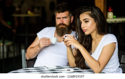 Morning coffee tradition. Couple enjoy hot espresso. Couple drink black espresso coffee in cafe. Having black cup of coffee when feel tensed or low can boost your mood instantly make things better.