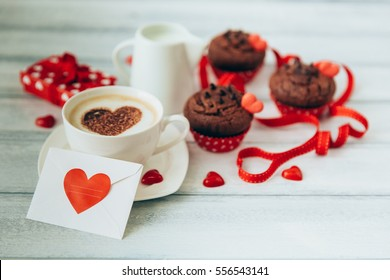 Morning coffee with Valentines day card