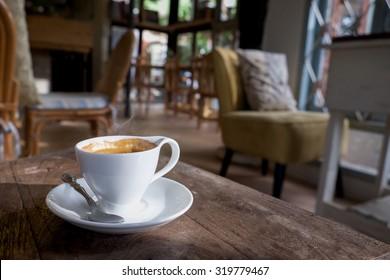 morning coffee vintage tone.