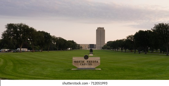 Morning comes to the State Capital grounds at Bismarck, North Dakota