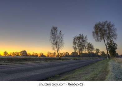 morning, country road with first frost (HDR)