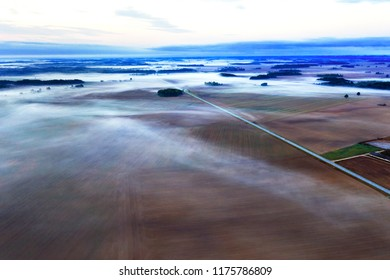 Morning in countryside,  Tukums municipality, Latvia.