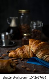 Morning croissants breakfast  and coffee