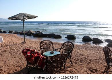 Morning at Dahab beach on Red Sea, Sinai coast in Egypt.