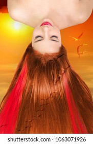 Morning dawn girl beautiful long red hair. Collage with beauty girl with straight foxy hair, red strands of hair on morning red sky background with sun and birds. Foxy model girl with healthy hair.