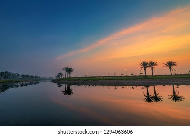 Morning Drama red sky at Dammam Saudi Arabia.