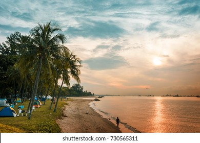 Morning in East coast beach Singapore