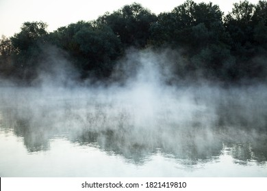morning evaporation of water over the river, fog over the water