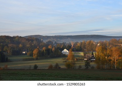 Morning in fall in sohland in upper lusatia