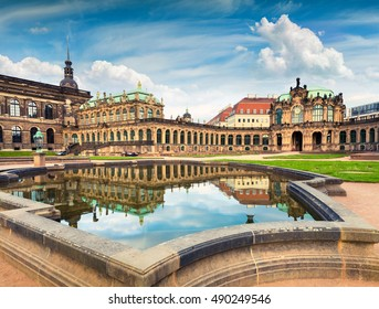 Morning in famous Zwinger palace (Der Dresdnen Zwinger) Art Gallery of Dresden. Colorful spring scene in Dresden, Saxony, Germany, Europe. Artistic style post processed photo.