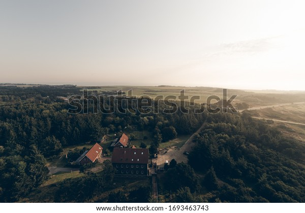 In the morning, far view from the lighthouse over the dunes of Amrum