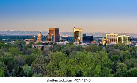 Morning first light on Boise Skyline in spring