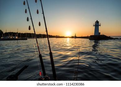 Morning fishing scenery
