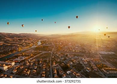 Morning flight above Avanos Valley in Cappadocia.